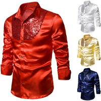 Men  Sequin Silk Satin Shirt Wedding Groom Shirts Nightclub Party Prom Custyme