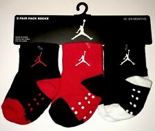 3 Pair Nike Air Jordan Baby Boy Infant Socks Red/Blk/Wht 12-24 mo New Year 2015