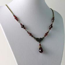 Garnet Dark Siam Blood Red Crystal Vintage Victorian Necklace Earring Set Steamp