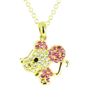 Pink and Clear Crystal on Gold Plated Bling Mouse Necklace