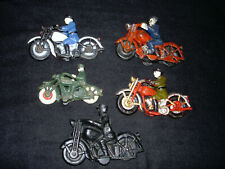 Vintage - Lot of 5 Cast Iron Police Motorcycles  Hubley - Champion & 2 Repo.