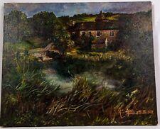 Splendide huile sur papier marouflé sur un panneau représentant un beau paysage