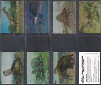 KELLOGGS-FULL SET- PREHISTORIC MONSTERS & THE PRESENT (8 CARDS) - EXC+++
