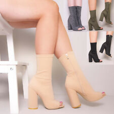 Ladies Women Ankle Boots Peep Toe Block High Heel Lycra Casual Fashion Shoe Size