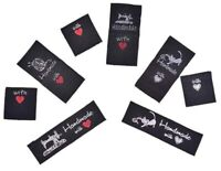 Black Fabric Label Tag Hand Made With Love Sew On Garment Cotton Clothing Tags