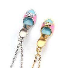 Edelstahl Emaille Anhänger Halskette Schuh Damenschuh Pumps Silber Gold