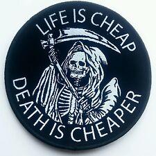 Life Is Cheap Patch Death Reaper Doom Occult Symbolism Afterlife Skeleton Skull