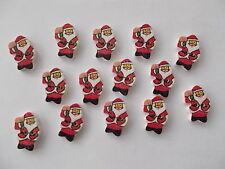 20 Santa Père Noël en forme en bois boutons Scrap Book Artisanat Couture