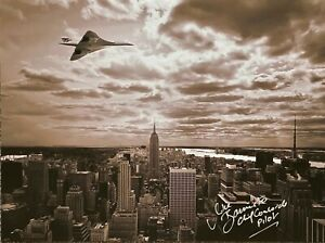 CONCORDE SIGNED 16X12 PHOTOGRAPH FLYING OVER NEW YORK BRITISH AIRWAYS CONCORDE