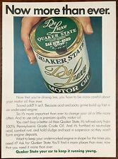 Vintage 1974 QUAKER STATE De Luxe SAE 10W-40HD Motor Oil Full Page Ad