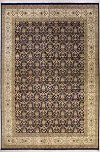 Rugstc 10x14 Senneh Pak Persian Blue  Rug, Hand-Knotted,Floral with Silk/Wool