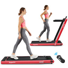 2.25Hp 2 in 1 Folding Treadmill W/Bluetooth Speaker Remote Control Home Gym Red