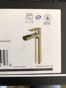 Amada Single Hole Single-Handle Vessel Bathroom Faucet in Matte Gold by VIGO
