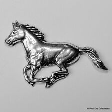 Galloping Horse Pewter Pin Brooch -British Made-Mustang Pony Riding Gift Present