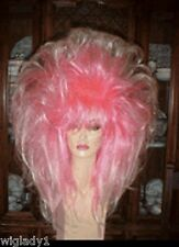 EMPRESS BIANCA DRAG QUEEN LONG STRAIGHT PINK & WHITE TEASED LAYERS VOLUME BODY