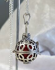 Silver & Red Harmony Chime Ball Angel Caller Pendant with Chain