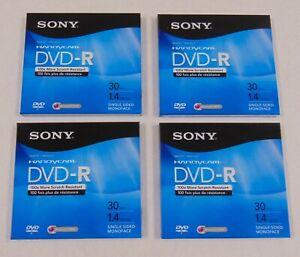 Lot of 4 New Sealed Sony Handycam DVD-R 30 min 1.4 GB Single Sided Discs