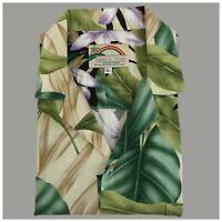 Vintage Mens Paradise Found Floral Hawaiian Camp Shirt Size L Large 100% Rayon