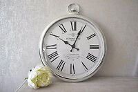 Large 42cm Round SILVER Roman Numeral Pocket Watch Kensington Station Wall Clock