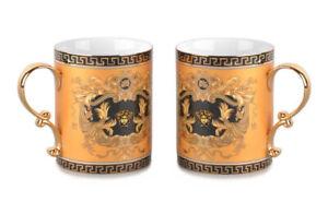 Royalty Porcelain 2-pc Gold Coffee or Tea Cup Mug, Medusa Greek Key, 13 oz