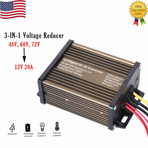 Pro Chaser DC-DC 48V 60V 72V Converter Regulator Step-Down to 12V 240W 20A
