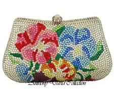 AnthonyDavid Silver Metal Multi-Colored Floral Evening Bag w/ Swarovski Crystals