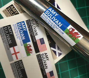 Personalised Named Flag Golf Club Putter Stickers Decals 36x12mm