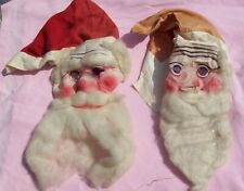 Old Vintage Antique Rare 20 30s Cloth Santa Claus Christmas Halloween Mask Lot