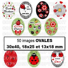50 Images digitales pour bijoux cabochon Coccinelles porte bonheur rouge OVALES