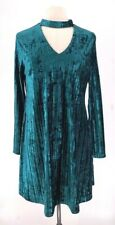 Nicole Miller Velvet Shift Dress Green Side Slits Choker Neck Zipper Stretch 14