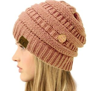 CC Classic Winter Fall Trendy Stretchy Cable Knit Beanie Hat Button Hook Rose