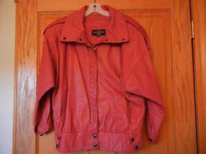 Vintage Red Leather Jacket Coat Women's Gino di Giorgio Size=Medium