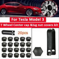 T Wheel Center Cap 20x Lug nut Covers Kits W/ XLug Nut Puller For Tesla Model 3