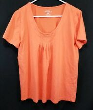 Riders By Lee Women's Size Large L Short Sleeve Orange T-Shirt Pleaded Front
