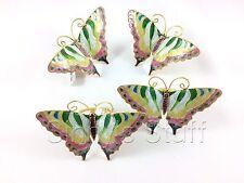 Set of 4 Williams Sonoma Cloisonne Butterfly Napkin Rings Enamel Ring Set Spring