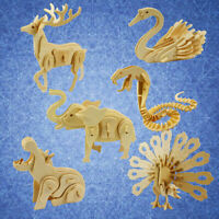 3D WOODEN BLANK PUZZLES DIY ANIMAL MODEL CRAFTS KITS EDUCATION KIDS TOY GIFT