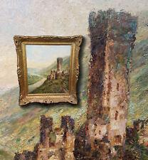 Château Beilstein sur mosel. antique peinture à l'HUILE , sign. Heinrich Bader (