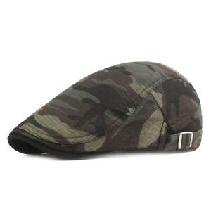 Men Camouflage Berets Newsboy Hat Flat Cap Outdoor Travel Adjustable Caps