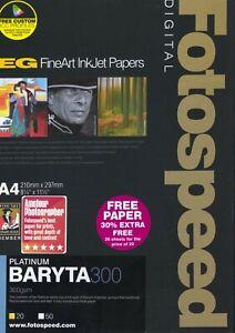 Fotospeed Platinum Baryta 300gsm - A4 - Inkjet - 26 Sheets