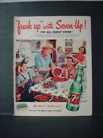 1952 7Up 7 Up Seven Up Soda Strawberry Harvest Family Vintage Print Ad 11162