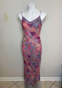 VICTORIAS SECRET Large Silk Maxi Sheer Night Dress Purple Floral Spaghetti Strap