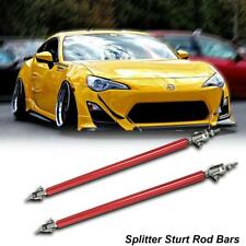 Adjustable Red Front Bumper Lip Splitter Strut Rod Tie Support Bars Universal