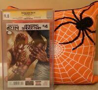 AMAZING SPIDER-MAN: #4 CGC 9.8 2X SS STAN LEE RAMOS + SILK / MOON; SLOTT OLAZABA