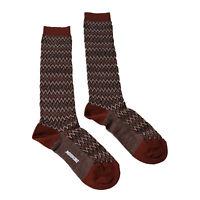 Missoni GM00CMD4597 0005 Rust/Black Chevron Boot Socks