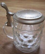 Original BMF Bierseidel Bierkrug aus Glas mit Zinndeckel