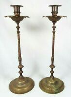 "Set Of Vintage Hand Etched Brass Tall Taper Candle Stick Holders India 15.5"" H"