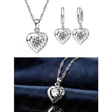 925 Silver Heart Love Crystal Pendant Necklace And Earring Jewellery Gift Set