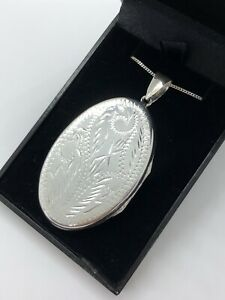VERY LARGE ENGRAVED OVAL LOCKET NECKLACE STERLING SILVER 925 PENDANT + CHAIN