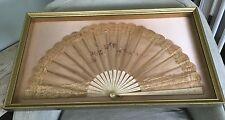 """Antique Hand Fan In Beige W/ Flowers; In Gold Shadow Box Frame: 28"""" X 16"""" X 2"""""""