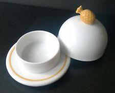 Laure Japy Butterglocke Ananas, rund klein, Limoges Porzellan,  Weiß-Gelb